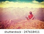 man meditation on mountain top  ...   Shutterstock . vector #247618411