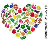 heart made of fruits and... | Shutterstock . vector #247627141