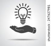 flat hand giving light lamp... | Shutterstock .eps vector #247627981