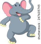 happy elephant cartoon | Shutterstock .eps vector #247635745