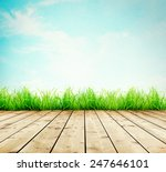 wooden planks with green grass... | Shutterstock . vector #247646101