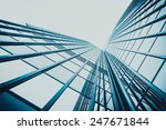 Blue Skyscraper Facade. Office...