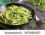 tagliatelle pasta with spinach... | Shutterstock . vector #247682437