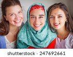 three friends of different... | Shutterstock . vector #247692661