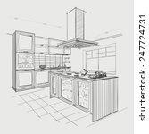 interior sketch of modern... | Shutterstock .eps vector #247724731