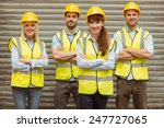 warehouse team with arms... | Shutterstock . vector #247727065