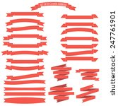 vector set of 25 red ribbons  | Shutterstock .eps vector #247761901