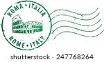 postal grunge stamp 'rome italy'... | Shutterstock .eps vector #247768264