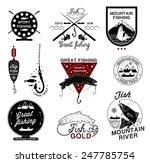 set of vintage fishing logo ...