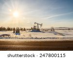 oil pump works on winter forest ... | Shutterstock . vector #247800115