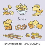 snacks  chips  nuts | Shutterstock .eps vector #247800247