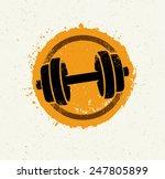 vector grunge dumbbell icon on... | Shutterstock .eps vector #247805899
