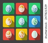 set of flat colored easter eggs ...   Shutterstock .eps vector #247821529