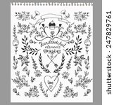 set of floral hand drawn... | Shutterstock .eps vector #247829761