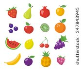 flat icons of different fruits | Shutterstock .eps vector #247843945