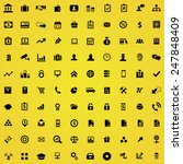 100 bank icons  black on yellow ... | Shutterstock . vector #247848409