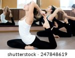 Постер, плакат: Girls doing yoga exercises