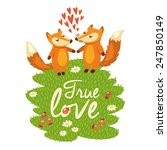 Love Card With Cute Foxes In...