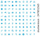 100 bank icons  blue on white... | Shutterstock . vector #247851565