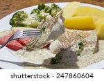 fish fillet with dill sauce ... | Shutterstock . vector #247860604