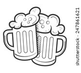 couple of beer mugs with foam... | Shutterstock .eps vector #247861621