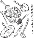 cooking utensil sketches | Shutterstock .eps vector #247868035
