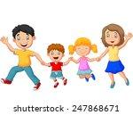 cartoon happy family waving... | Shutterstock . vector #247868671