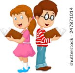 cartoon kids reading book | Shutterstock . vector #247871014