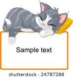 Stock vector cute gray cat sleeping on text block 24787288