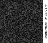 vector black floral seamless... | Shutterstock .eps vector #247877179