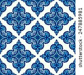 Damask Abstract Blue Seamless...