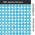 100 animals  pets icons  blue... | Shutterstock . vector #247888429