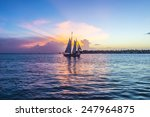 Sunset At Key West With Sailin...