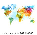 world map watercolor  vector... | Shutterstock .eps vector #247966885