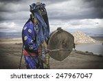 shaman performs ritual in fog....   Shutterstock . vector #247967047