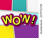 Постер, плакат: Wow Comic background pop art