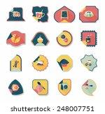 coffee sticker flat banner... | Shutterstock .eps vector #248007751