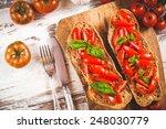 italian starter  bruschetta... | Shutterstock . vector #248030779