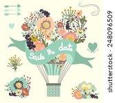 vintage floral hot air balloon. ... | Shutterstock .eps vector #248096509