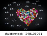 eyeball  looking colorful heart. | Shutterstock . vector #248109031