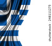 flag of greece half curtain  | Shutterstock . vector #248111275