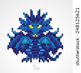 pixel monster character blue... | Shutterstock .eps vector #248125621