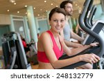 woman in fitness club using... | Shutterstock . vector #248132779