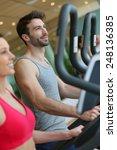 couple doing cardio training...   Shutterstock . vector #248136385