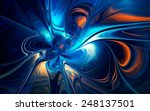 Abstract Fractal With Blue And...