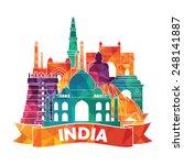 india skyline. vector... | Shutterstock .eps vector #248141887