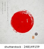big red grunge circle on old... | Shutterstock .eps vector #248149159