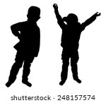 silhouettes of two little boys... | Shutterstock .eps vector #248157574