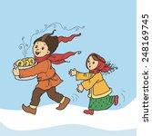 winter fun. boy stole donuts | Shutterstock .eps vector #248169745