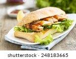 sandwich with chicken and mango ... | Shutterstock . vector #248183665